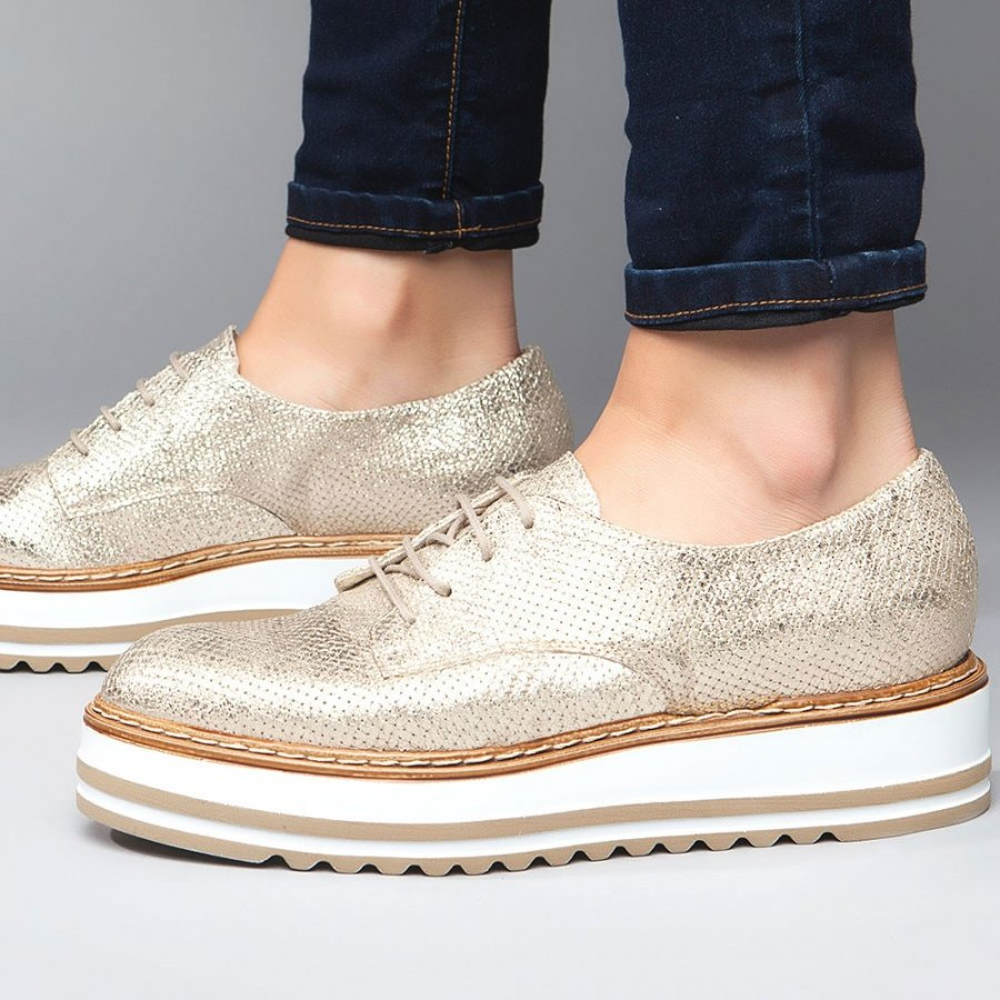 Belinda Gold Metallic Leather Oxford