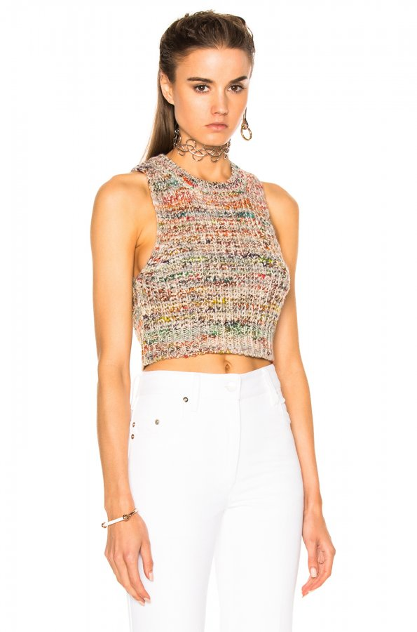 Zelia Knit Top in White Mix