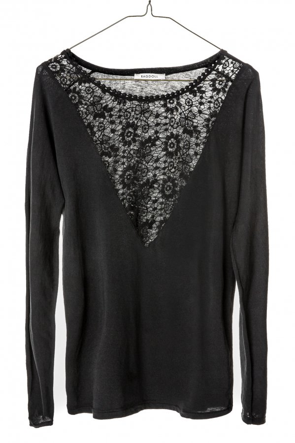 Lace Long Sleeved Black Top