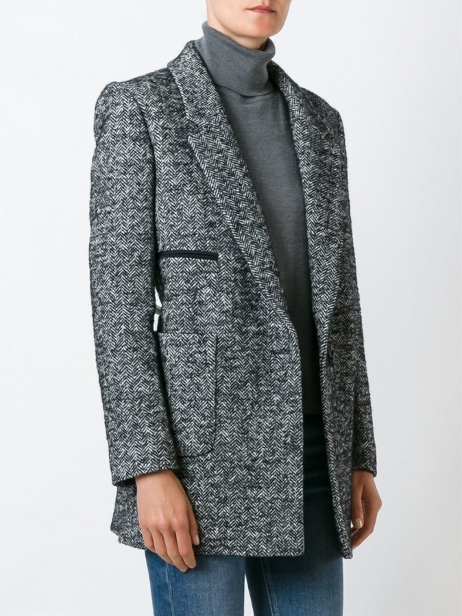 Serafini Herringbone Single Breasted Coat