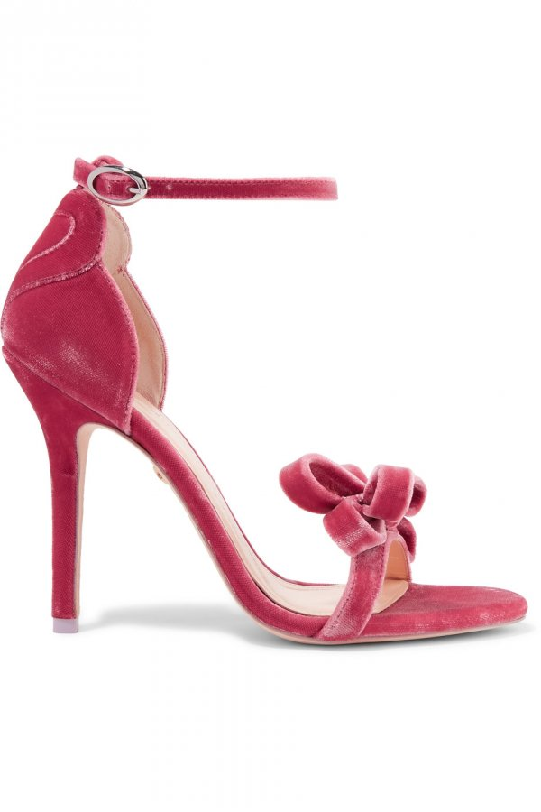 Shelby bow-embellished velvet sandals