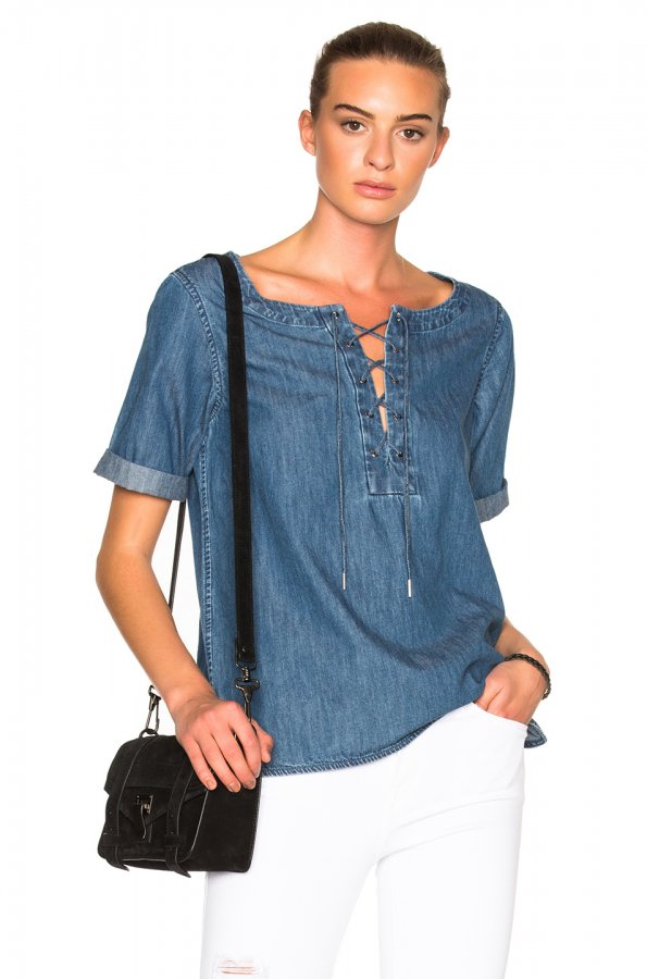 JEAN Lace Up Top