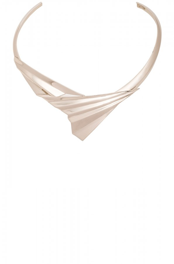Folded Metal Choker in Pale Gold