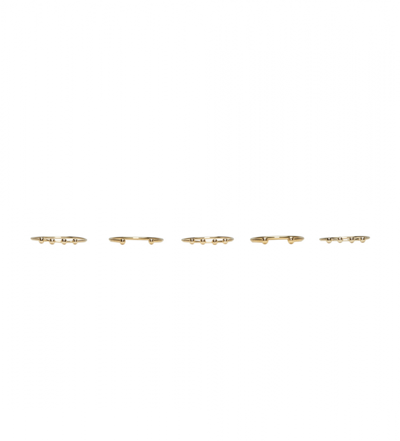 Set of Five Gold Love Rings