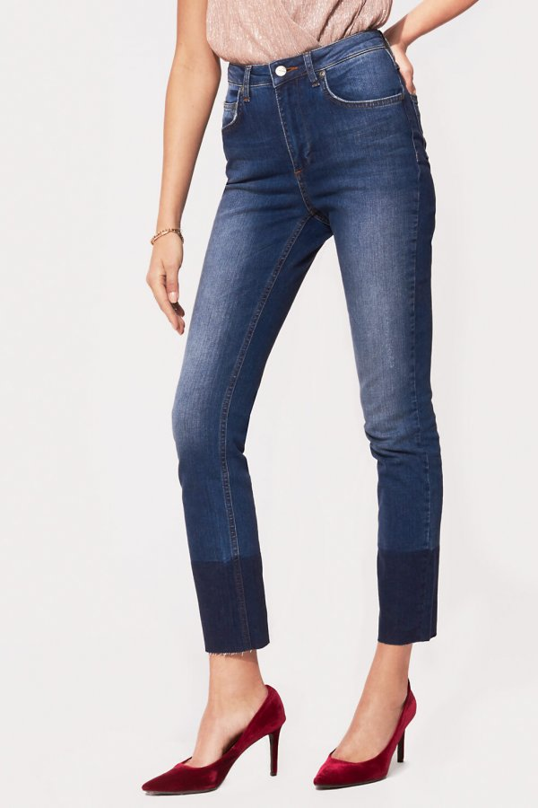 Jeans with Hem Detail Blue