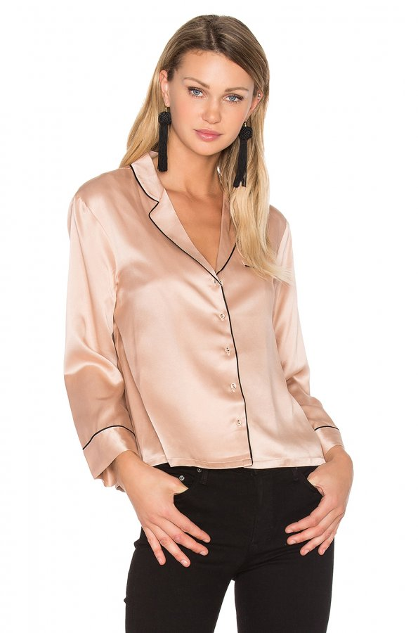 V Neck Button Up Blouse