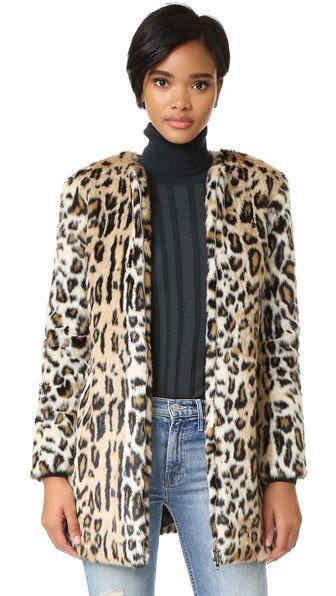 Elvina Faux Fur Leopard Coat