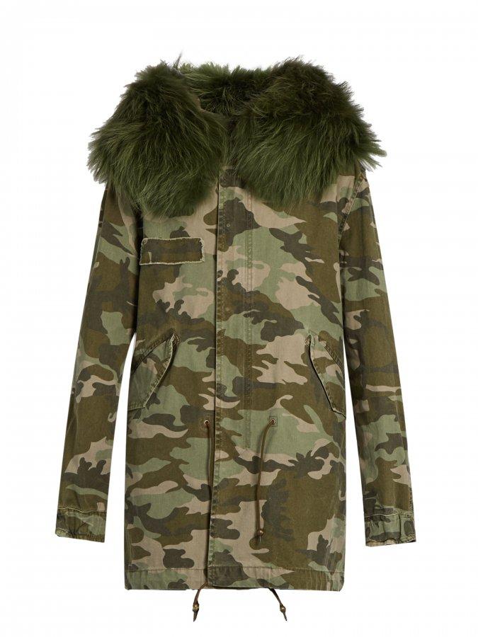 Camouflage-print fur-trimmed canvas parka