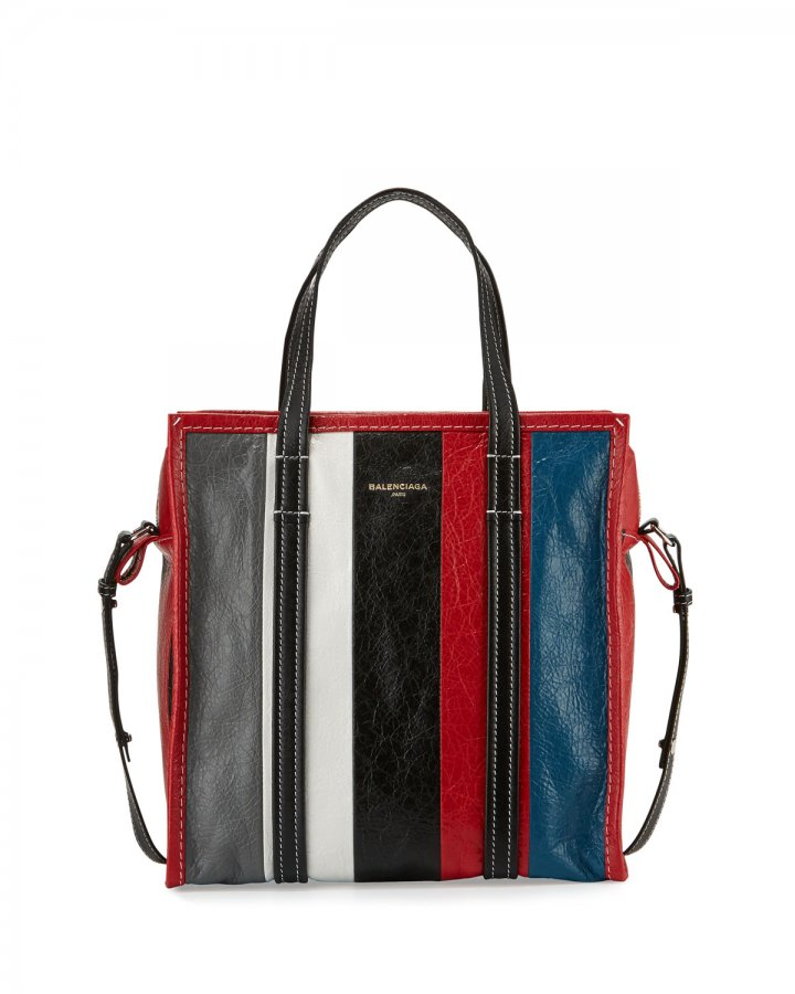 Bazar Small Striped Leather Shopper Tote Bag