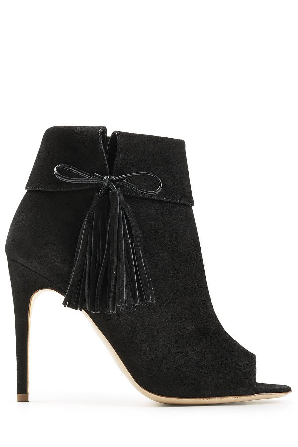 Tinsel Suede Open Toe Ankle Boots