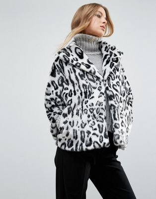 Faux Fur Leopard Print Collared Revere Coat
