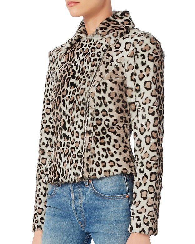 Aja Leopard Pattern Goat Hair Jacket