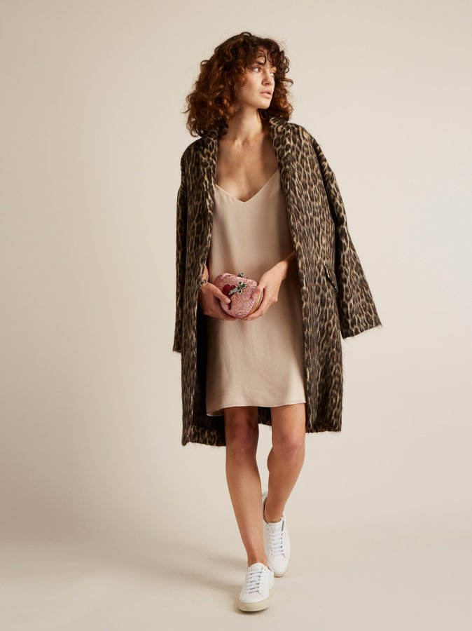 Leopard-print wool-blend blanket coat
