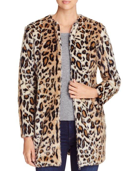 Elvina Leopard Print Faux Fur Jacket