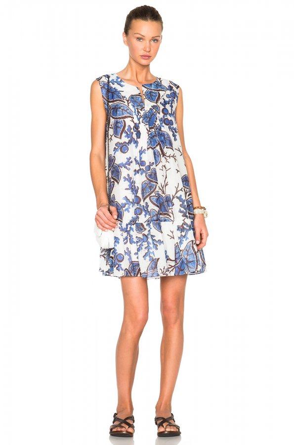 Thakoon Scalloped Hem Pintuck Dress in Blue & White