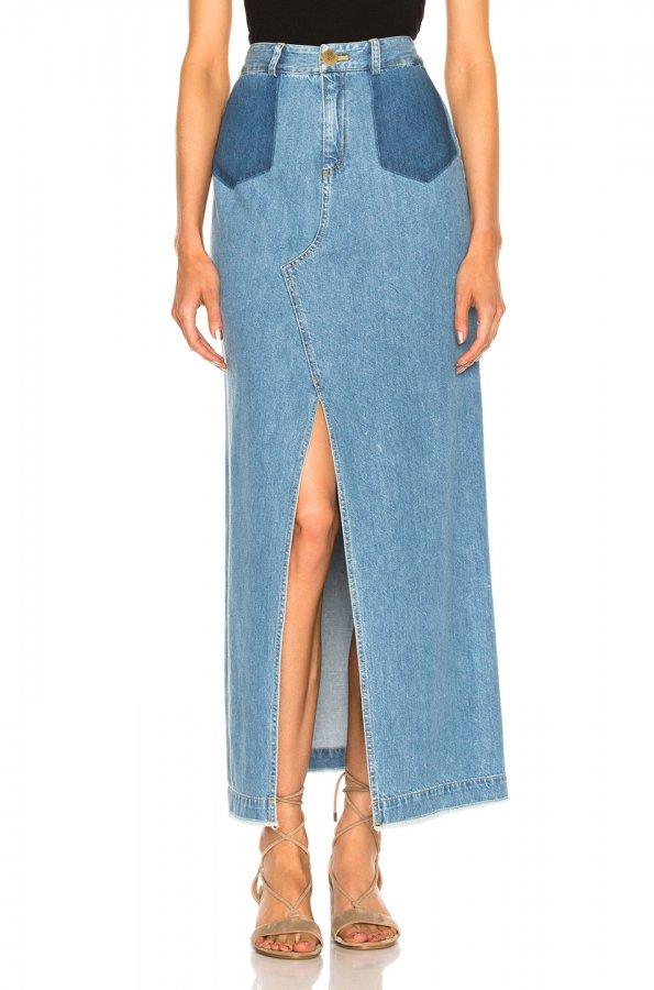 Maxi Slit Denim Skirt