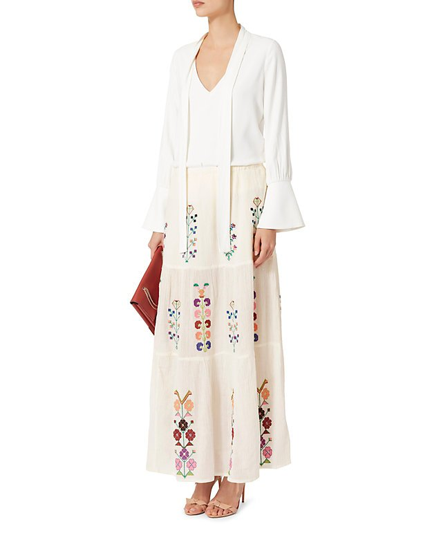 Pixi Embroidered Maxi Skirt