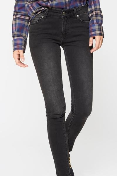 MID RISE SKINNY JEANS - CHARCOAL