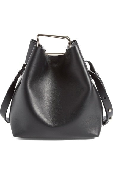 \'Mini Quill\' Leather Bucket Bag