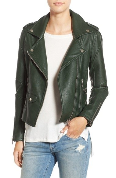 \'Easy Rider\' Faux Leather Moto Jacket