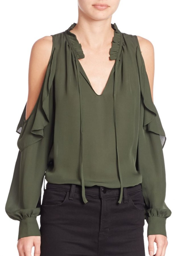 Marjorie Silk Cold-Shoulder Blouse