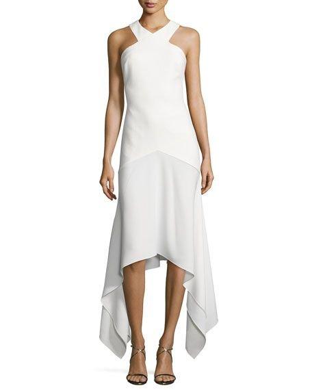 Bryony Ponte Handkerchief-Hem Gown