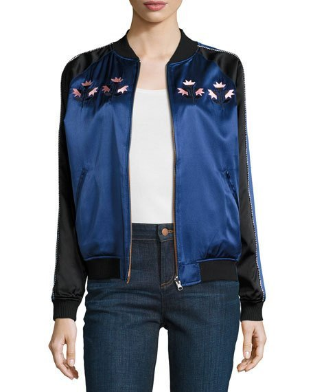Reversible Silk Satin Bomber Jacket