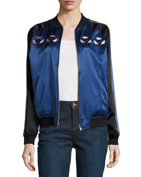Reversible Silk Satin Bomber Jacket