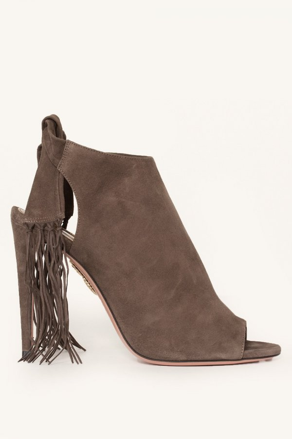 Fringed Suede Open-Toe Booties