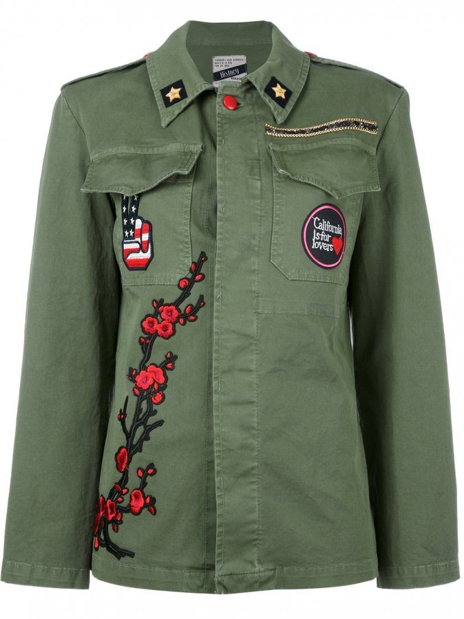Floral Embroidery Military