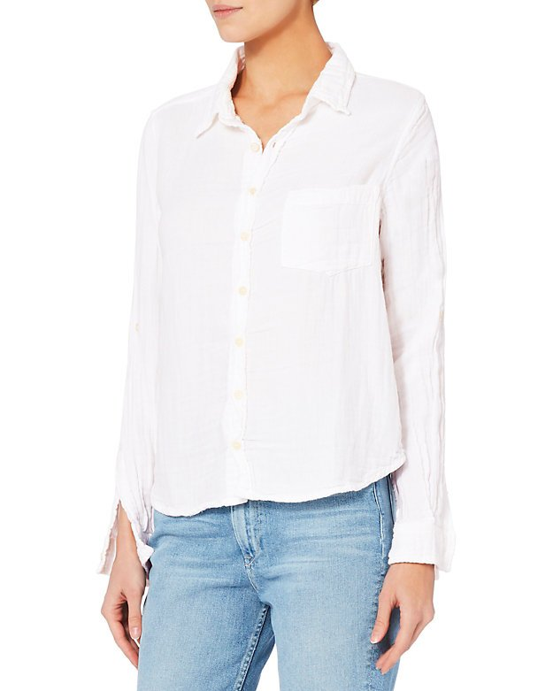 Double Gauze White Button Down Top