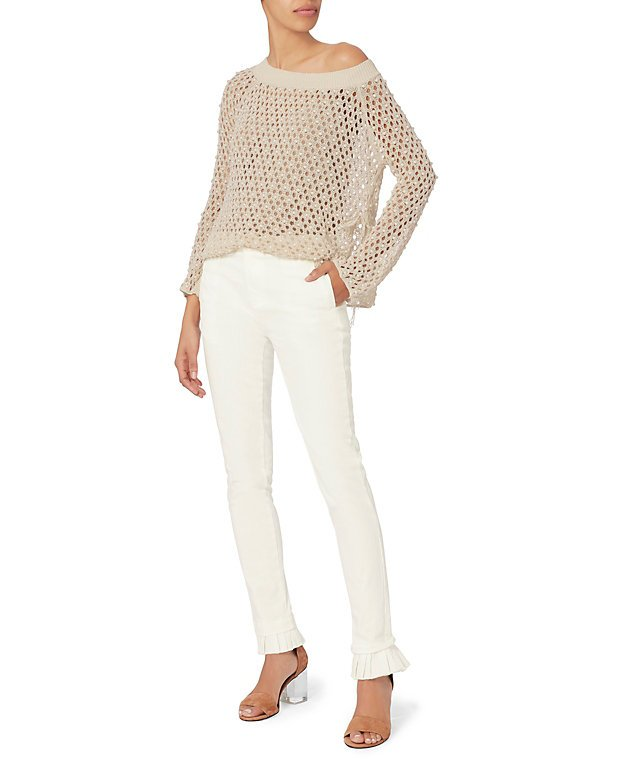 Frill Cuff White Jeans