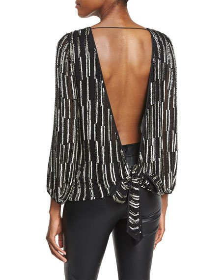 Evvy Sequined Tie-Back Silk Blouse