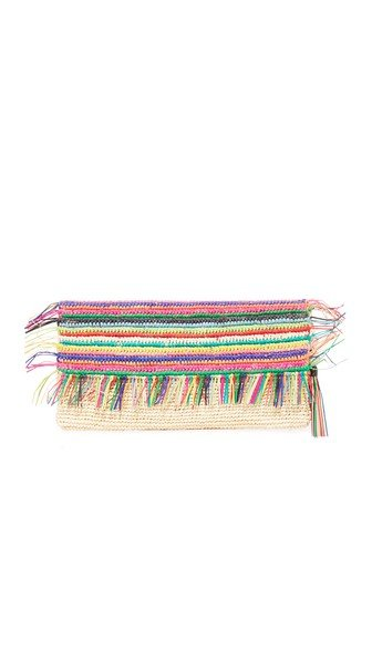 Multicolor Clutch with Tassels