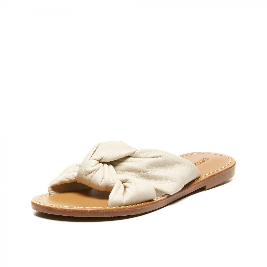 Knotted Leather Slide Sandal
