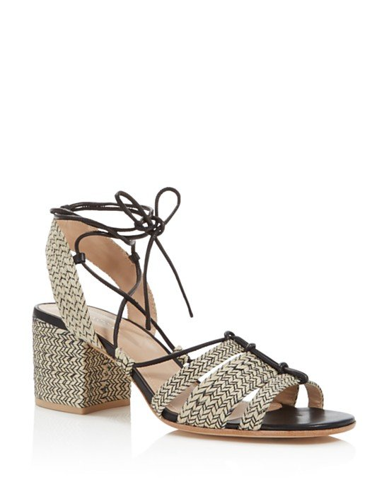Amada Raffia Lace Up Block Heel Sandals