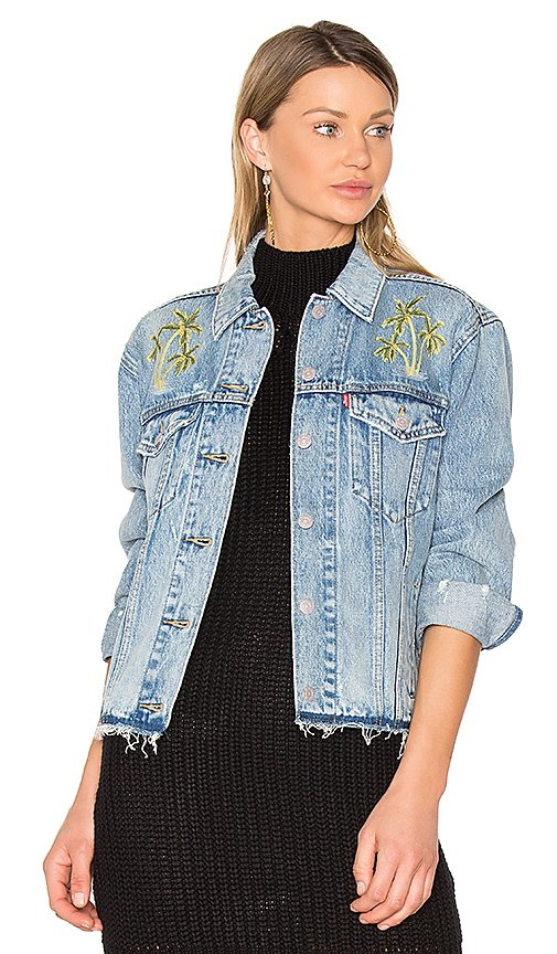 Palm Embroidered Denim Jacket
