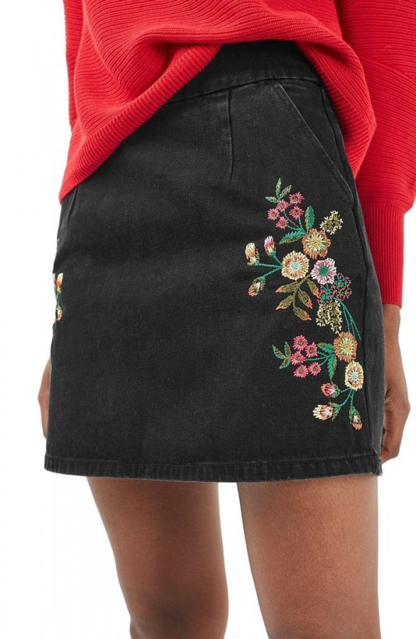 Embroidery Denim A-Line Skirt