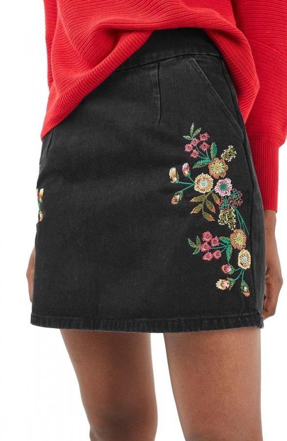Embroidery Denim A-Line Skirt