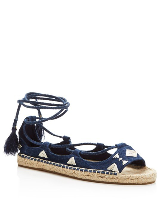 Denim Open Toe Embroidered Lace Up Sandals