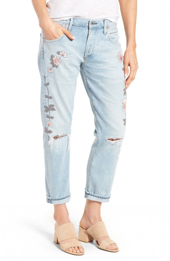 Emerson Slim Boyfriend Jeans (Distressed Rock on Roses)