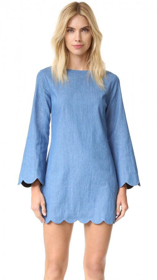 Scallop Denim Dress