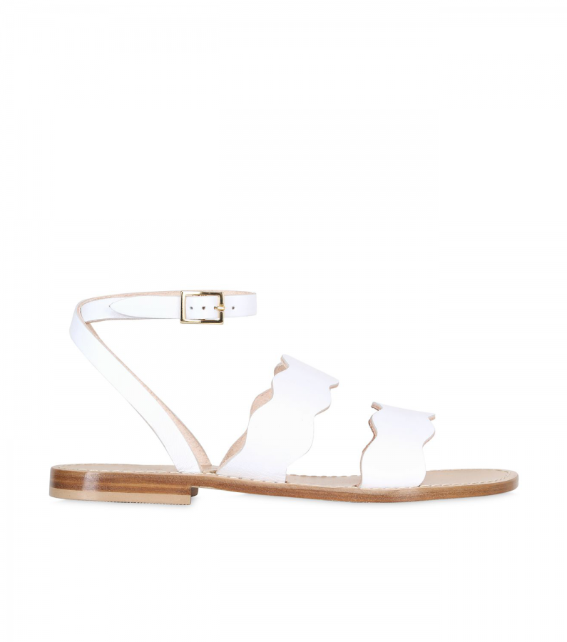 SIRENA SCALLOPED LEATHER SANDALS