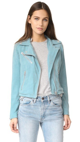 Who Cropped Suede Moto Jacket