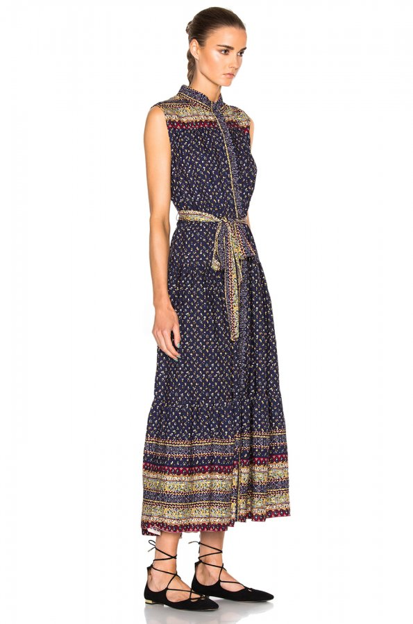 Belted Midnight Border Dress in Multi