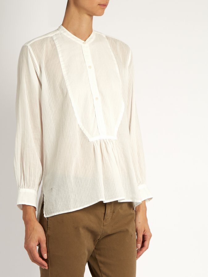 Greenwich sheer striped cotton blouse