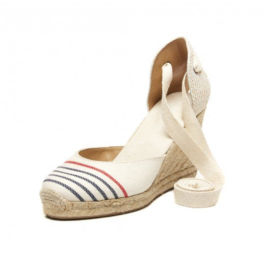 Provence Striped Tall Wedge Sandal