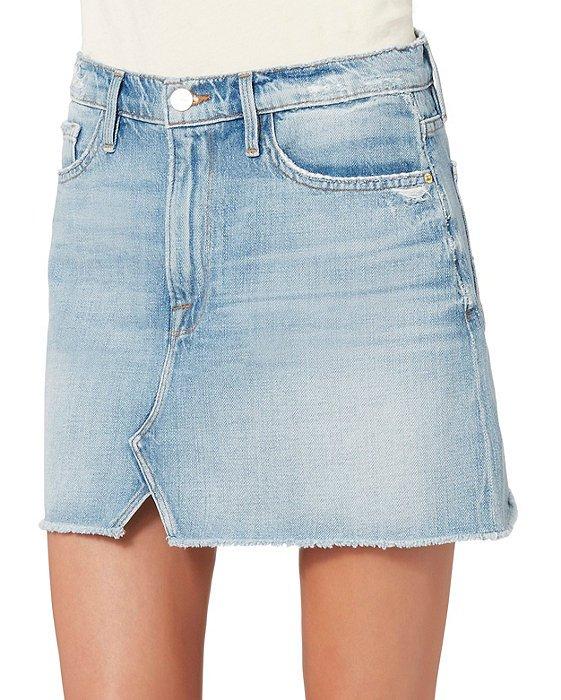 Split Front Denim Mini Skirt