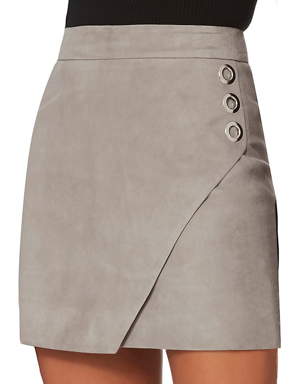 Suede Wrap Front Mini Skirt