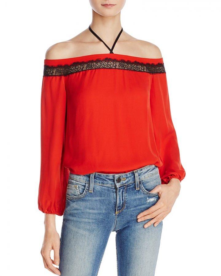 Esmeralda Off-The-Shoulder Silk Halter Top
